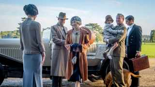 This image released by Focus Features shows Elizabeth McGovern, from left, Harry Hadden-Paton, Laura Carmichael, Hugh Bonneville and Michael Fox, right, in a scene from the film 'Downton Abbey.' Picture: AP