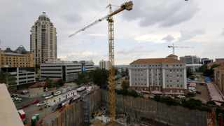 Construction is seen below the skyline of Johannesburg's upmarket Sandton suburb. File picture: Mike Hutchings/Reuters