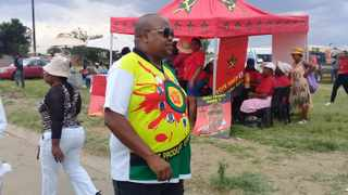 ANC Youth League president Collen Maine walks past an SACP marquee without giving his alliance partners a second look in Metsimaholo, Free State. Picture: Siviwe Feketha