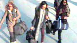 A still taken from CCTV issued by the Metropolitan Police in London of 15-year-old Amira Abase, left, Kadiza Sultana,16, centre, and Shamima Begum,15 going through Gatwick airport, before they caught their flight to Turkey. The three teenage girls left the country in a suspected bid to travel to Syria to join the Islamic State extremist group.