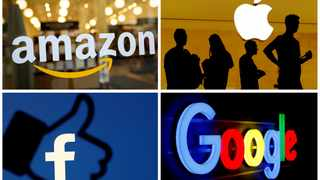 The logos of Amazon, Apple, Facebook and Google in a combination photo. File picture: Reuters