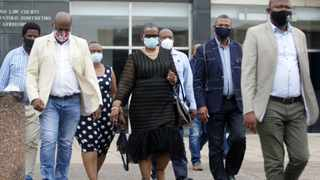 South Africa - Durban - 10 December 2020 - Zandile Gumede former eThekwini mayor greets her supporters after appearing at Durban magistrate court on corruption charges. Picture: Bongani Mbatha /African News Agency (ANA)