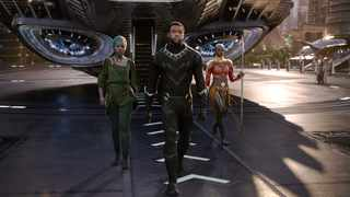 This image released by Disney shows Lupita Nyong'o, left, and Chadwick Boseman and Danai Gurira in a scene from Marvel Studios' Black Panther. Picture: Disney/AP