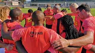 The Springbok Sevens team in a huddle during a training session. Photo: @Blitzboks on Twitter