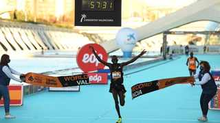Kenya's Kibiwott Kandie became the first person on Sunday to break 58 minutes at the Valencia Half Marathon, smashing the half marathon world record by 29 seconds in the process. Photo: @adidasrunning/Twitter