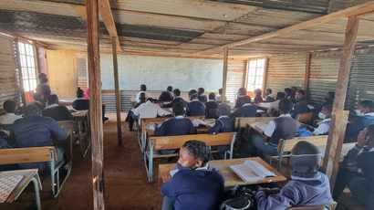Learning resumes in classroom shacks built from dilapidated Dibeng Primary School