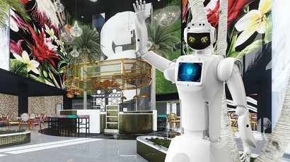 Hotel Sky is a hotel of the future with its AI robots and self check-in