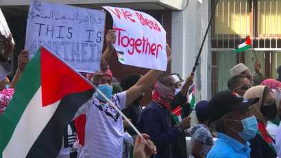 Hundreds turn up in Cape Town for second day of Palestine protests outside Parliament