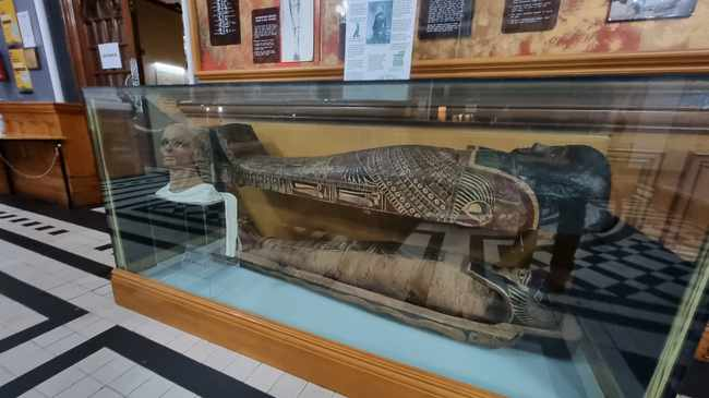 According to history, the mummy was bought by the                Durban Museum sometime between 1889 and 1910 from a                British army officer, Major William Joseph Myers, who                brought the mummy from Egypt when he came to South Africa                at the end of the 19th century, having served in Egypt for                five years. Picture: Eric Apelgren Facebook.