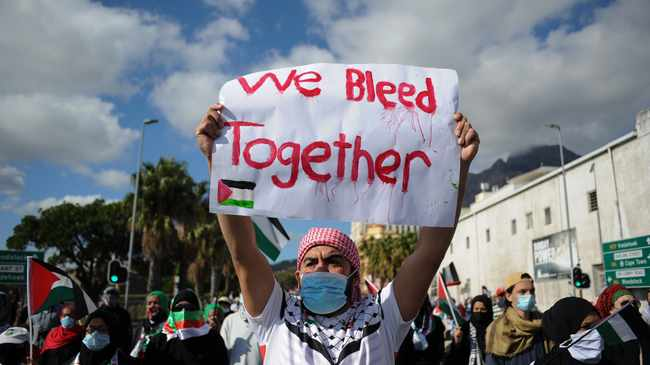 South Africa - Cape Town - 12 May 2021 - Thousands of people joined a mass Palestine protest march in Cape Town CBD in support of Palestinian. Picture Henk Kruger/African News Agency(ANA)