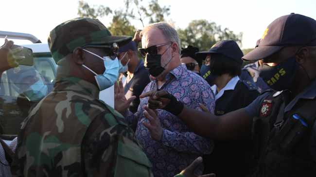 Suspended ANC NEC member Carl Niehaus has been arrested outside Estcourt Correctional Services whilst addressing a crowd that had gathered outside the prison where former president Jacob Zuma is being held for contempt of court. Picture: Doctor Ngcobo/African News Agency(ANA)