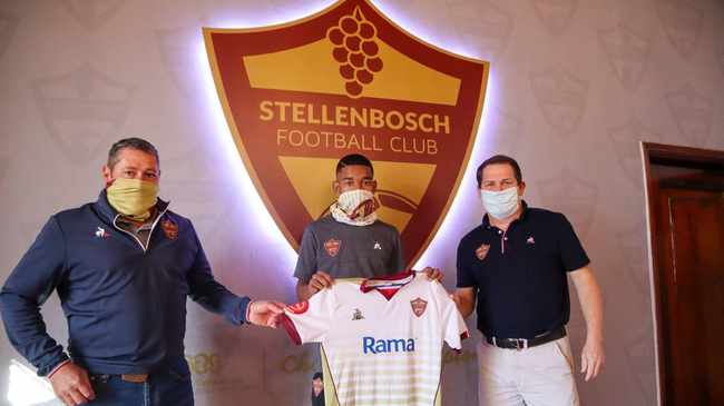 WELCOME: Jayden Adams, centre, signed with Stellies