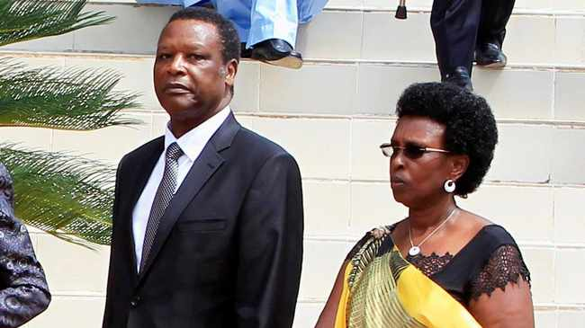 Former Burundian President Pierre Buyoya (centre) with his wife Sophie (left) at Rwanda's genocide memorial centre in 2014. File picture: Noor Khamis/Reuters