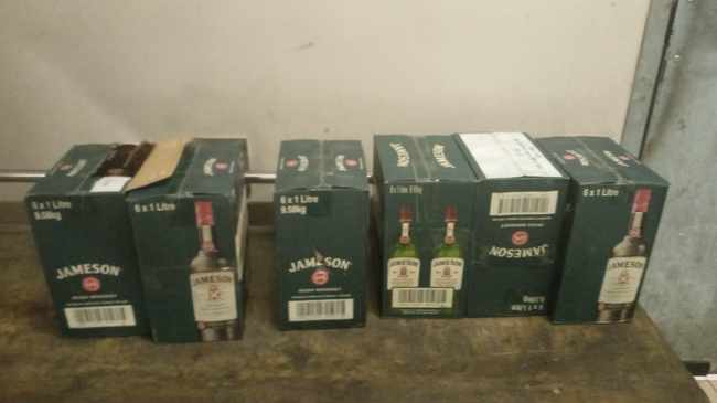 Six boxes of Jameson Whiskey was found in the car boot during a vehicle checkpoint. Photo: SAPS