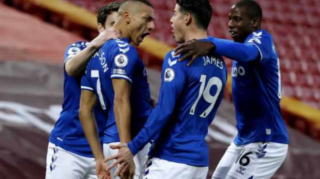 DERBY KINGS: Richarlison, left, celebrates