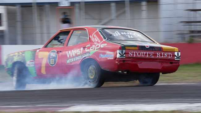Eddie Rasta took first place in Spin Outlaws in his Cortina. Picture: Zain George