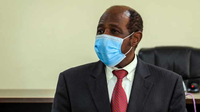 Paul Rusesabagina appears in front of media at the headquarters of the Rwanda Bureau of investigations building in Kigali. Picture: AP