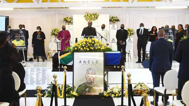 The funeral service for former Mamelodi Sundowns and Bafana Bafana player Anele Ngcongca took place at the JL Zwane Hall in Gugulethu. Picture: Phando Jikelo/African News Agency (ANA)