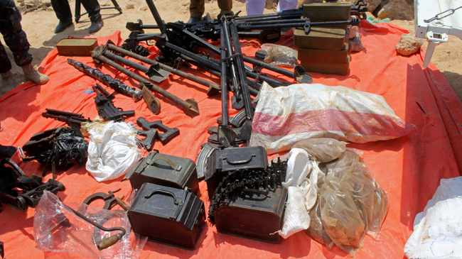 Somali Puntland forces display weapons seized in a boat on the shores of the Gulf of Aden in the city of Bosasso, Puntland region, Somalia. File picture: Abdiqani Hassan/Reuters