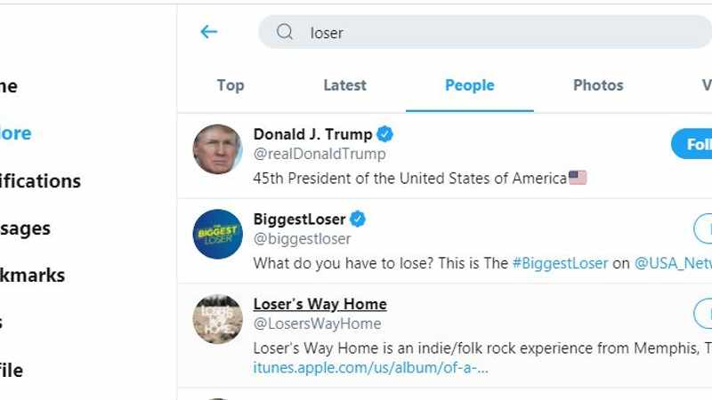 The tweets have spoken: Twitter search links Donald Trump to 'loser', Newsline