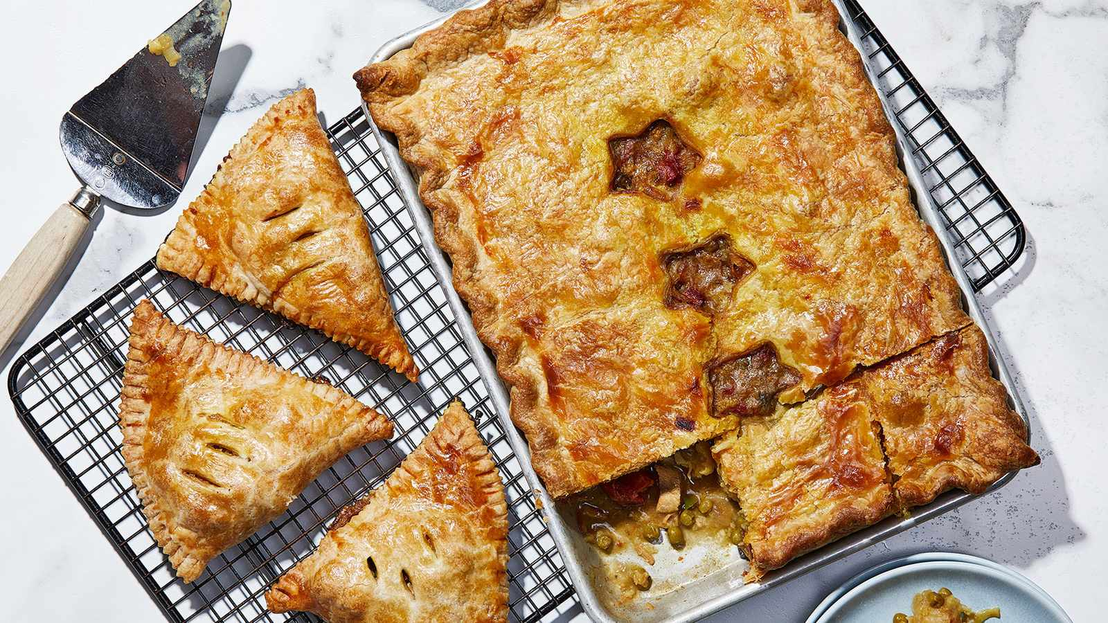 Turn curried chicken into a round pie, a slab pie or a turnover