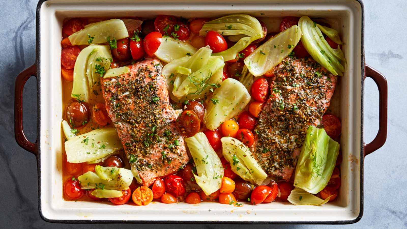 Roasted Salmon With Fennel and Tomatoes
