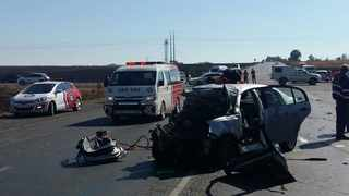 Two people died and several others were injured when a VW Polo, a bakkie, and an Audi collided on the R546 near Secunda in Mpumalanga on Saturday. Photo: ER24