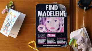 A poster of missing Madeleine McCann is displayed on the church door of Praia da Luz beach resort in the southern Portuguese province of Algarve in August 2007. File picture: Virgilio Rodrigue/Reuters