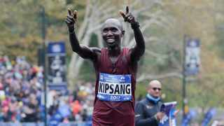 Wilson Kipsang of Kenya reacts after crossing the finish line second in the men's division of the New York City Marathon in New York, Sunday, November 5, 2017. Photo: AP Photo/Seth Wenig