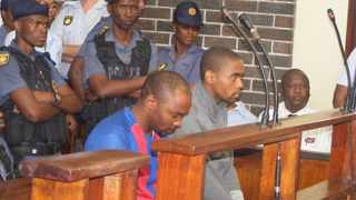 Thokozani Msibi (left) and his co-accused Brilliant Mkhize in the dock inside the Witbank Magistrate's Court in Mpumalanga. Picture: Balise Mabone / ANA