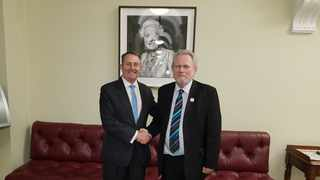 UK Secretary of State for the Department for International Trade Liam Fox and South Africa Minister for Trade and Industry Rob Davies. Picture: Department of Trade and Industry