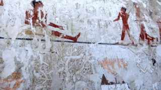 This image taken from video shows wall paintings inside a 4 400-year-old tomb near the pyramids outside Cairo, Egypt. Picture: APTN/AP