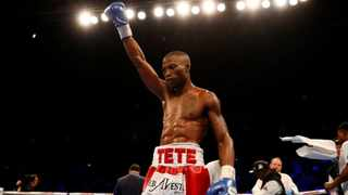 Zolani Tete celebrates after his win over Omar Andres Narvaez in Ireland in April. Photo: Reuters/Jason Cairnduff