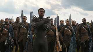 This image released by Disney shows Chadwick Boseman, centre, in a scene from Marvel Studios' 'Avengers: Infinity War'. (Marvel Studios via AP)
