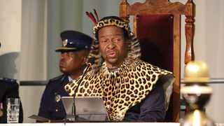 King Goodwill Zwelithini addressing the delagates while delivering his official address to the Legislature to mark the beginning of the second session of the sixth legislature at Royal Showgrounds, Pietermaritzburg. Picture: Motshwari Mofokeng African News Agency(ANA)