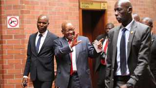 Former President Jacob Zuma greets his supporters at the Pietermaritzburg High Court on Monday. Photo by MotshwarI Mofokeng/African News Agency(ANA).