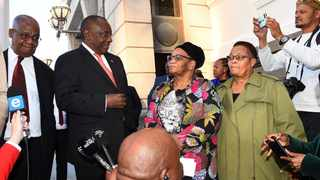 President Cyril Ramaphosa together with the Parliament presiding officers addresses media outside the National Assembly, about the readiness of the house for the State of the Nation Address. Picture: Phando/Jikelo/African News Agency(ANA)