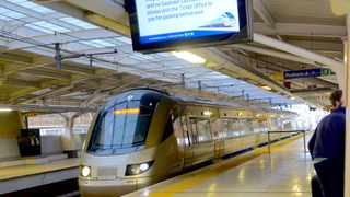 The front of the train while stopped to pick up travellers at the OR Tambo International Airport Gautrain station. Picture: Karen Sandison/African News Agency(ANA)