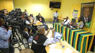 Ricardo Mthembu, the new spokesperson of the ANC in KwaZulu-Nata and ANC KZN secretary Mdumiseni Ntuli (right) speaking during a press conference at provincial headquarters in Durban on Tuesday.  Picture: Motshwari Mofokeng/African News Agency(ANA)