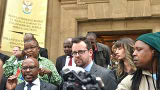 Chief executive officer of the Nelson Mandela Foundation Sello Hatang and AfriForum deputy CEO Ernst Roets, addresses members of the media after the Equality Court. Picture: Itumeleng English/African News Agency(ANA)