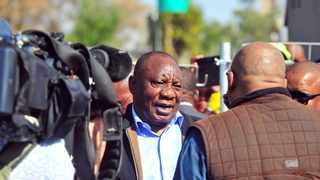 President Cyril Ramaphosa addresses Tshwane taxi drivers and residents following the death of taxi driver Jabu Baloyi. Ramaphosa and ANC leadership visited Baloyi's family. Picture: Bongani Shilubane/African News Agency (ANA).