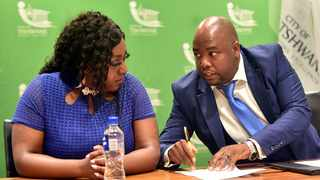Mayor of Tshwane, Stevens Mokgalapa and MMC for Transport, Sheila Senkubuge during a media briefing on the City's decisions on Wonderboom Airport. Picture: Thobile Mathonsi/African News Agency(ANA)