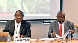 President Cyril Ramaphosa chairing the 5th monthly meeting of the Jobs Summit Presidential Working Committee at Nedlac House in Sandton. He is alongside Employment and Labour Minister Thulas Nxesi. Picture: GCIS