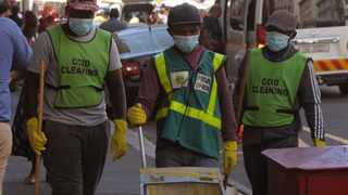 CCID cleaning staff in Burg Street, Cape Town. Picture: Tracey Adams/African News Agency (ANA)
