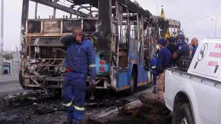 A MyCiTi bus was set alight in Du Noon. Photo: Ayanda Ndamane/African News Agency (ANA)