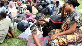 Loveness James, 22, with her friend Marriam Mbambichi, 25. Both are from Malawi, and along with other foreigners camped at the Sydenham police station after they were forced to flee. Picture: Zanele Zulu/African News Agency (ANA)