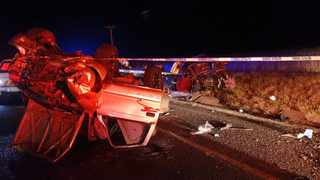 Four people diedwhen a car and a bakkie collided head-on on the N2, about 25km from Ermelo in Mpumalanga. Picture: ER24