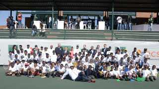 Local Primary school children with TSA, BNP Paribas and RCS representatives at the launch of the National Primary  School Championships at Arthur Ashe Centre in Soweto on Tuesday. Photo: Frennie Shivambu