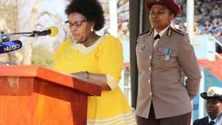 Defence Minister Nosiviwe Mapisa-Nqakula addresses battalions at the annual Women's Day Parade in Pretoria. Photo: Jonisayi Maromo / ANA