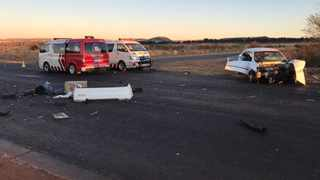One person was killed and eight other people were injured when three vehicles collided in Westonaria on the West Rand early on Sunday morning. Photo: ER24.